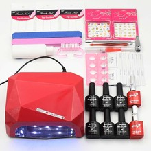 Nail art set Manicure Tool 6 Color (120 colors) soak off uv Gel base top coat nail polish varnish Remover Practice set File kit