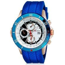 50pcs/lot Curren-8043 Japan Movement Rose Case Men Big Dial Silicone Watch Fashion Sport Dress Watch 100% Original Brand Watch