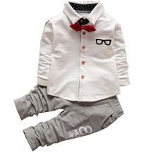 Gentleman Boys Clothing Set Baby children's Suit Boy Kids Formal Child Outfits Spring&Autumn Kids Clothes tie Shirts+Pant 2PCS