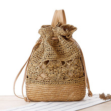 Drawstring Crochet Straw Beach Bags Handmade Summer Women Double Shoulder Bags Backpack Lady Fashion Fresh Satchel Bag T390(China)