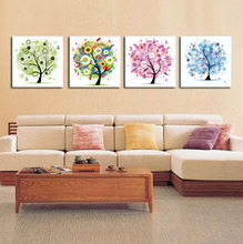 Abstract Paintings Art Group Pictures Four Seasons Trees Canvas Poster  Home Decor for Living Room Unframed 4 Pieces