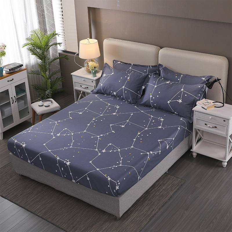 Modern-Nordic-Style-Fitted-Sheet-100%-Cotton-Bed-Sheets-Single-Double-Bed-Sheet-with-Elastic-Band-Full-Queen-Size-Mattress-Cover