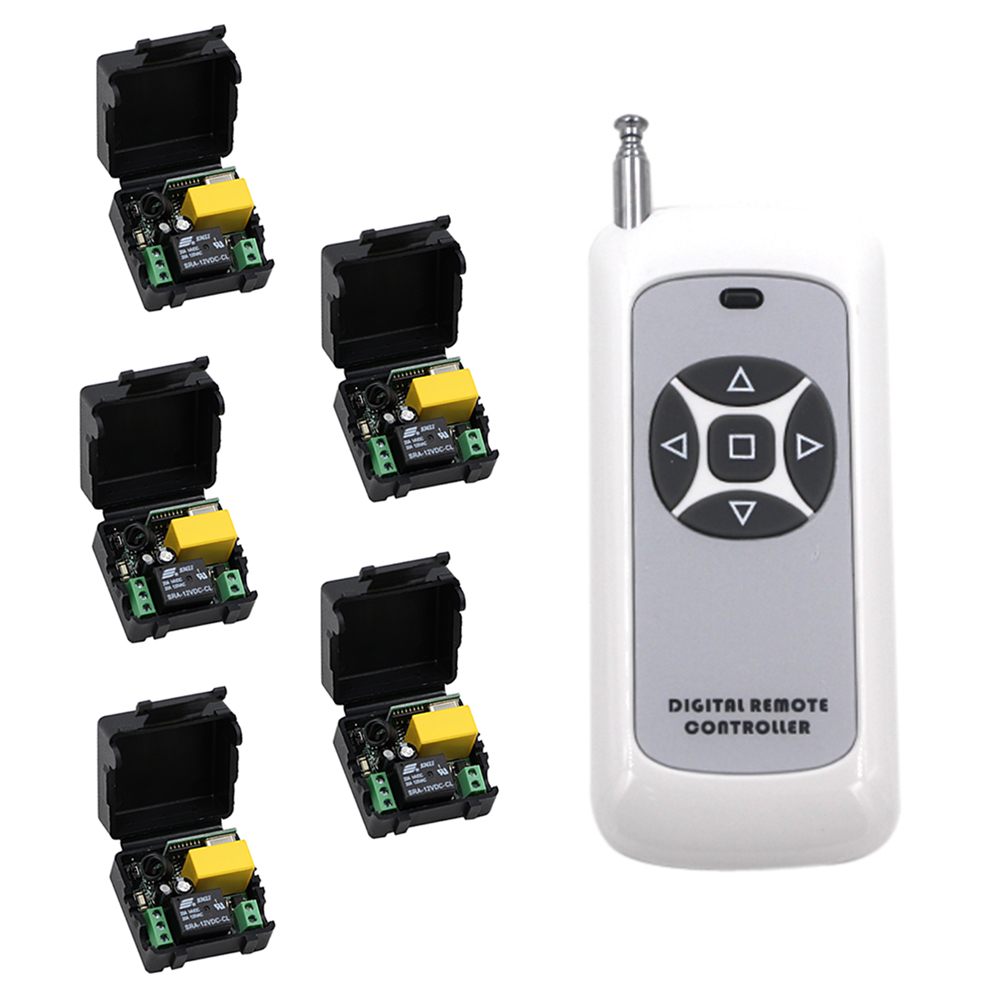 2017 AC220V 1CH RF Wireless Remote Control Switch System 315/433 MHZ Transmitter with 5 pcs Receivers Learning Code <br>