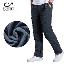 OONU brand Plus size Men Cargo Pants Winter Thick Warm Pants Full Length Multi Pocket Casual Military Baggy Tactical Trousers(China)