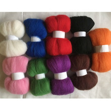 WFPFBEC DIY 70s 100% wool fiber mixture 9colors 10g/bag wool for needle felting handle tools set wool roving 90g(China)