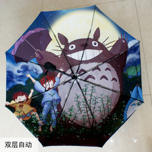 Hot design painting sun rain Umbrella automatic 3 Fold Anti UV fashion Original Holder durable smile night fancy cat galesaur XM(China)