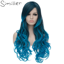 Similler 26inch Heat Resistant Fiber Hair Dark Root Ombre Blue Highlight Body Wave Synthetic Wig For Women Cosplay