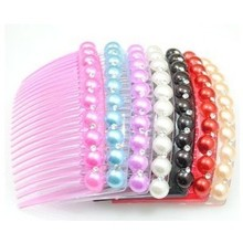 hot sale) New imitation pearl rhinestone beaded hair combs insert comb hair jewelry