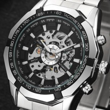 Mens Watches Top Brand Luxury Stainless Steel Skeleton Watch Automatic Mechanical Wristwatch Mens Outdoor Fashion Casual Clock(China)