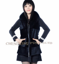 CX-G-B-125 Autumn Winter Women's Genuine Real Natural Black Sheared Rabbit Fur Vest Waistcoat Lady Gilet
