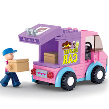 Building Blocks New Pink Dream series of Children's Educational toy Supermarket Distribution Car Model toy for Children Gift