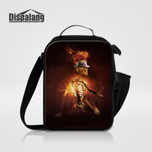Dispalang Kids Cooler Lunch Bag Skull Print Students Thermal Mini Lunch Box For Office Worker Children Picnic Insulated Food Bag