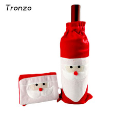Tronzo 2017 Christmas Decorations for Home Santa Claus Wine Bottle Cover Bag Santa Sack Noel Decoration New(China)
