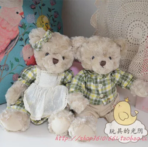 2pcs/set   Teddy Bear With Classic Green Plaid Dress Plush Stuffed Bear Toy Birthday gift<br><br>Aliexpress