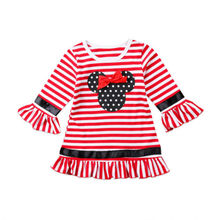 Sale Casual Toddler Kids Girl Christmas Dresses Flare Sleeve Bow Stripe Mini Party Tutu Dress Clothes 1-6Y Red(China)