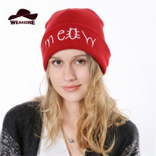 Woman winter Hats Knitting wool Caps Gorras bonnet femme Red Letter Pest pattern Skullies Hip Hop Beanie beanies hats for women