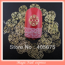 Gold flower nail art slices metallic nail decoration stickers nail ploish stickers 1000pcs/pack wholesale nail supplies