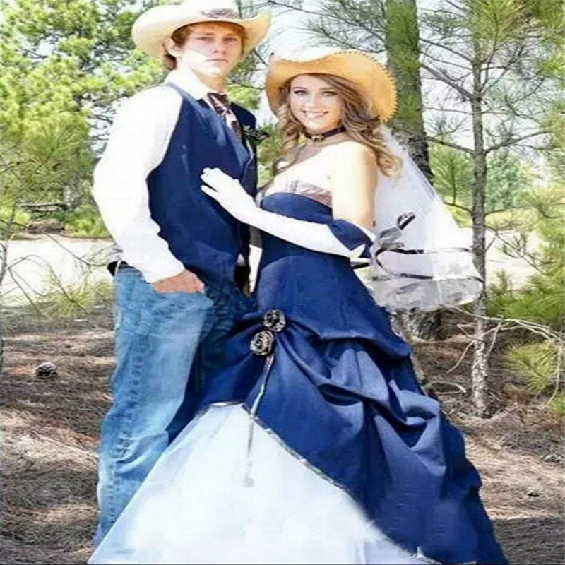 Hippie Navy Cowboy Camo Wedding Dresses Camouflage A Line Strapless Full Length Pleats Corset Plus realtree Country Bridal Gown