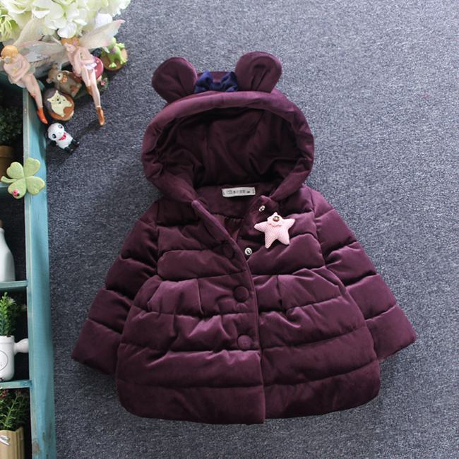 2017 new winter childrens clothing velet cotton-padded jacket baby girls bow wadded jacket warm outwearОдежда и ак�е��уары<br><br><br>Aliexpress