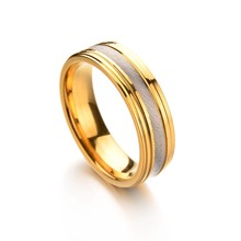 FATPIG 6mm Stainless steel gold color ring for women couples leave Give a partner Fashion romantic jewelry Woman for rings(China)