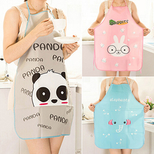Women Cute Cartoon Waterproof Apron Kitchen Restaurant Cooking Bib Aprons  8C5I