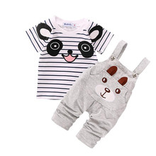 best deal baby clothing set baby boy clothing set 2016 Bear Pattern Stripe Short-Sleeve Set roupas para bebe menino Krystal
