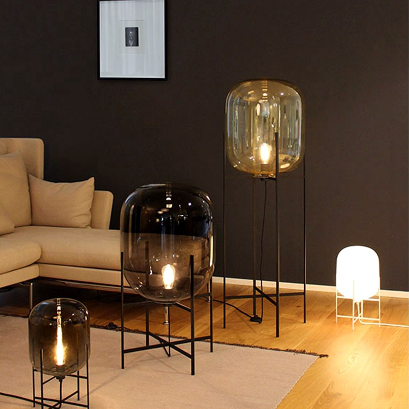 Nordic Style Glass Floor Lamp Retro Melon Floor Lights Fashion Design Glass Table Lamps Lights for Living RoomCountry HouseBar (38)