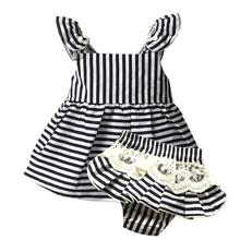 Baby Girl Clothes brand Newborn sleeveless Stripe belt Ball Gown+lace Shorts1year birthday infant clothing baby girl set