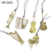 Cute Gold Metal Bookmark Fashion Music Piano Guitar Bookmark for Book Creative Gift Korean Stationery 1224(China)