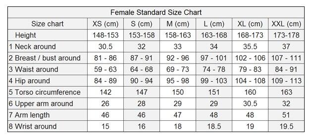 Female Shirt Size Chart