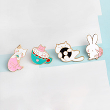 Cartoon Pin butoon Bath cat Beauty Kitten Kawaii rabbit Music record cat Brooch Pink White Jacket Lapel pin badges For girls(China)