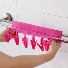 Multifunctional Portable Cloth Hanger Drying Rack Foldable Bathroom Rack Travel Clothespin 6 Clip Hanger Towel Socks Hanger Clip