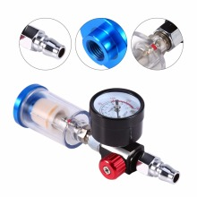 "1 Set 150 mm Spray Pneumatic Gun Air Regulator Gauge+ In-line oil Water Trap Filter Separator 1/4"" Air Inlet"