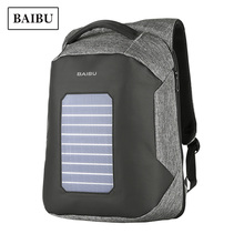 High Technological Solar Charging Backpack Business Men Computer Travel Anti-theft Bagpack Large Capacity Waterproof School Bag(China)