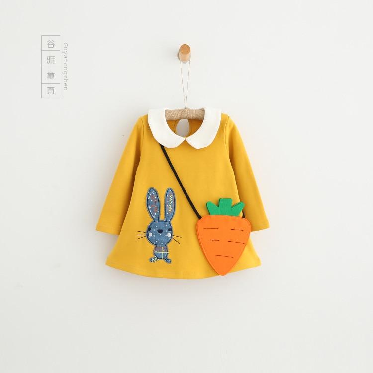 children long sleeve dress toddler cartoon bunny Doll collar Solid color dress girl lovely a-link dress with Carrots Aslant Bag<br><br>Aliexpress