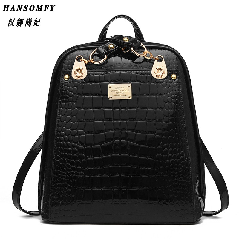HNSF 100% Genuine leather Women backpack 2017 New wave of womens shoulder bag students fashion bright skin commuter backpack<br>