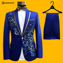 Wedding Groom Tuxedos Suit Men Fashion Blue Paillette Embroidered Male Singer Performance Party Prom Blazer Suit Costume 4 Piece