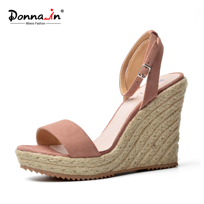 Donna-in suede leather classic conside wedge sandals rope covered high heel ladies shoes(China (Mainland))