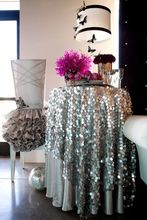 72'' Round 18mm Silver Big Sequin Tablecloth For Wedding Party Events Cocktail Table Decoration