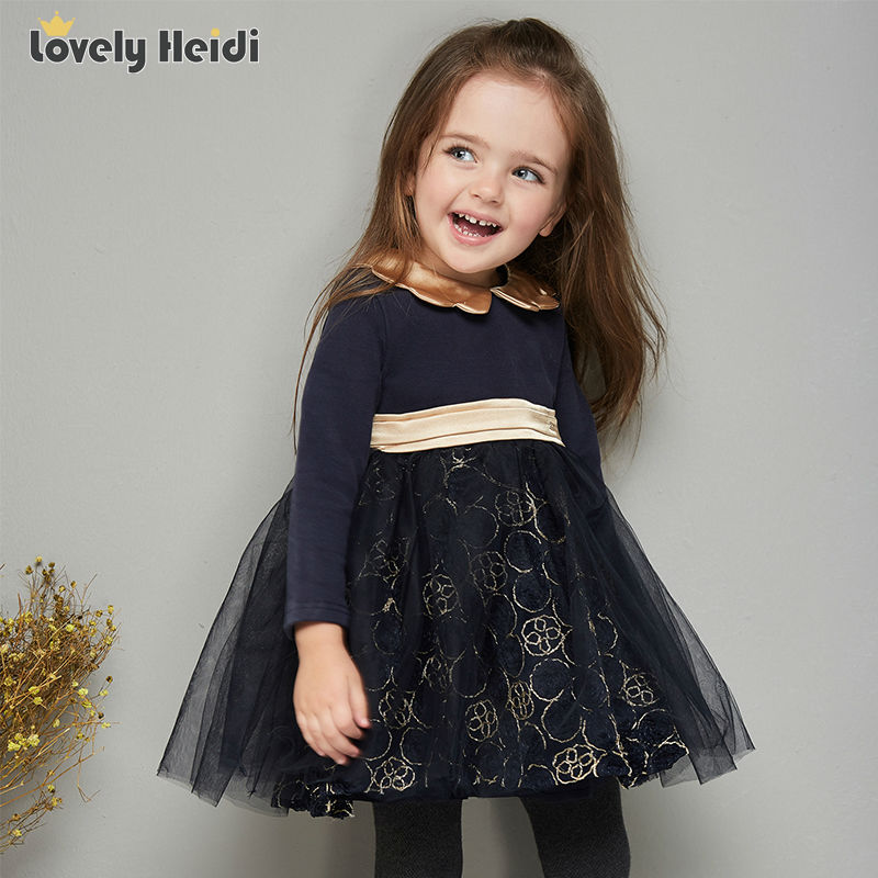 Girl Dress Long Sleeve 2017 Brand Princess Dress Girls Clothes gold embroidery tutu  Kids Dresses for Girls Costumes<br><br>Aliexpress
