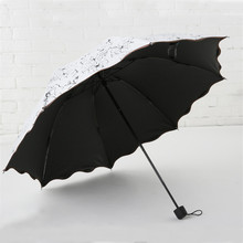 Non-automatic Umbrella Rain Women Three Folding Cute Flouncing Lace Female Umbrellas Flower 4 Patterns