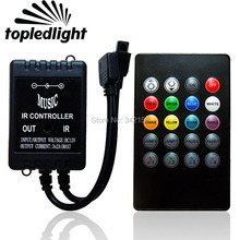 Black Sound Music IR RGB Controller With 20 Key Remote Control For 3528 5050 RGB LED Strip Portable Lighting Accessories(China)