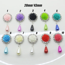 10 Pcs / lot 48MM round metal rhinestone/resin roses wedding decoration button/flat back hair flower center scrapbooking(China)