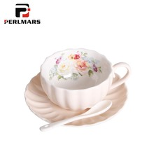 200ml Brief Ceramic Porcelain Coffee Cup with Lace Saucer Kit Home Drinkware Breakfast Milk Oatmeal Mug Cake Dish Birthday Gifts(China)