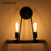 European style aisle rejuvenation solid wood industrial wind turbine head wall lamp semi-circular hemp rope bedroom lamp(China)