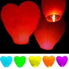 10Pcs Love Heart Sky Lantern Flying Wishing Lamp Hot Air Balloon Kongming Lantern Party Favors For Birthday Party White Paper