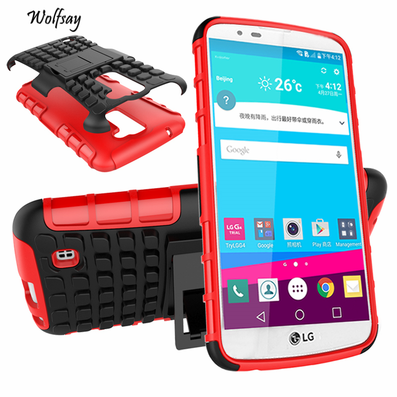 Cover For LG K10 Case K420N K430DS Soft Rubber & Hybrid PC Fundas Case For LG K10 Fashion Mobile Phone Coque With Holder Stand