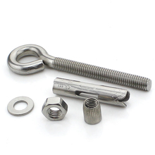1PCS-M10*60 304 Stainless Steel Sheep Eye Pull Screw / Belt Expansion Hook / Hanging Hook / Swing Hook