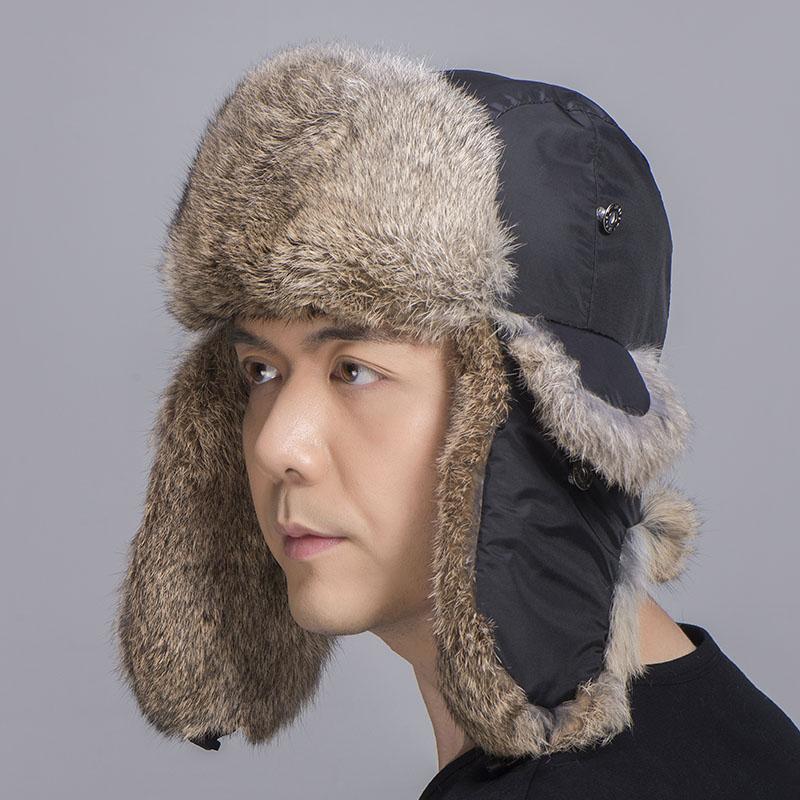 rabbit fur trapper hat tan black 3