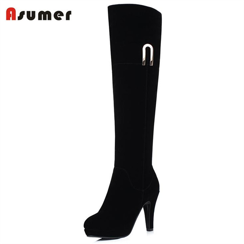 ASUMER 2017 Fashion elegant women flock suede boots autumn winter high heels boots metal decoration knee high boots<br>